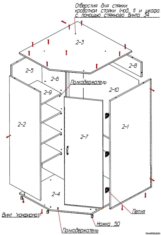 Встроенный угловой шкаф своими руками чертежи