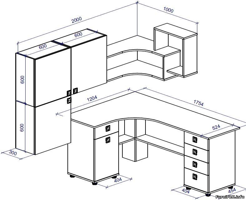 Чертеж углового стола с полками и шкафчиками. - столы - Черт.