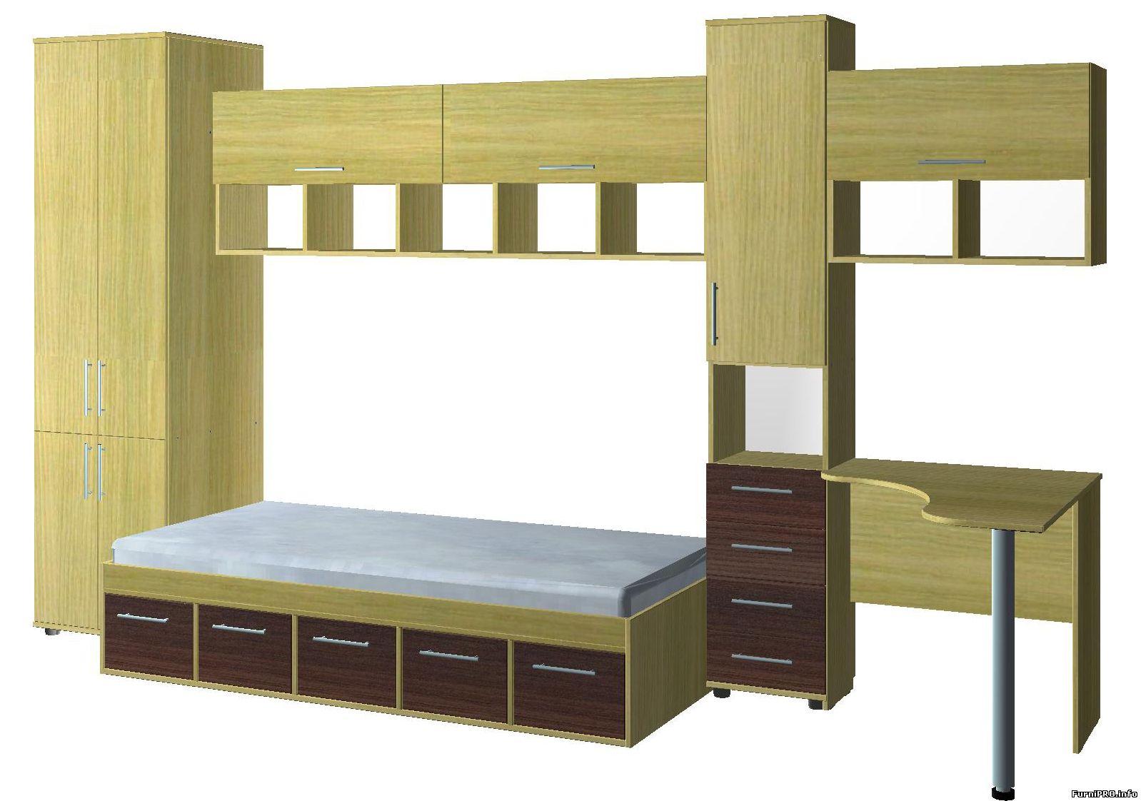 Стенка в детскую — 3d модель — Woody — Библиотека моделей мебели — Скачать модели чертежи мебели и фурни