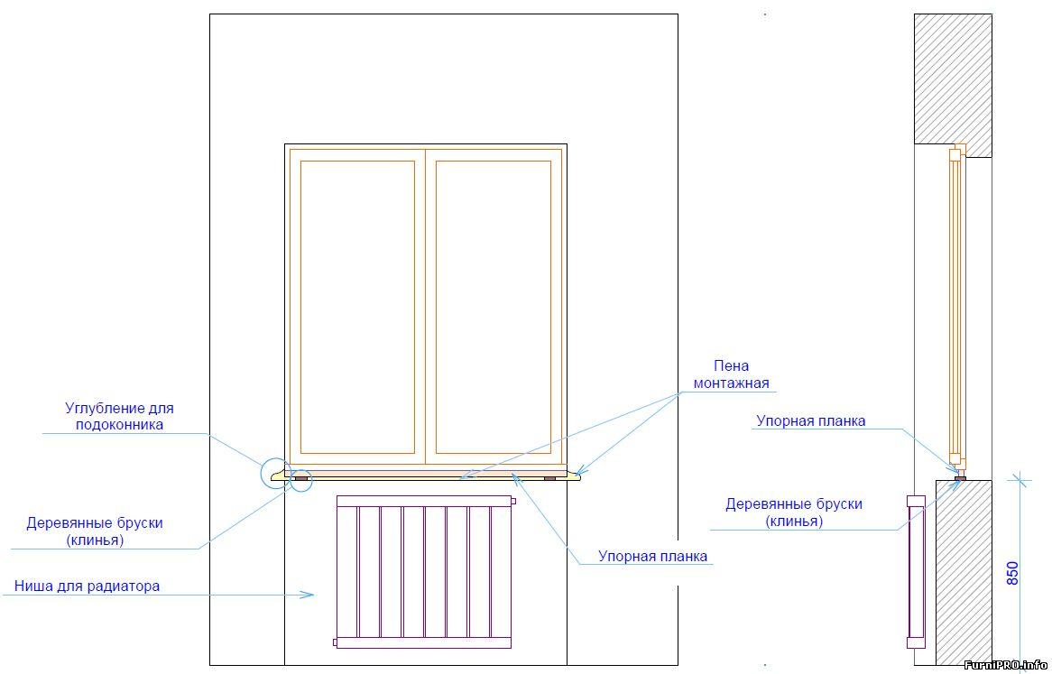 Установка подоконника своими руками деревянные окна 46